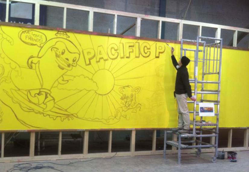 Damien sketching the outline for the Zombieland mural at the Deluxe Group Studios at Portadown - Decorative Painters Paris, France – Maison Scene